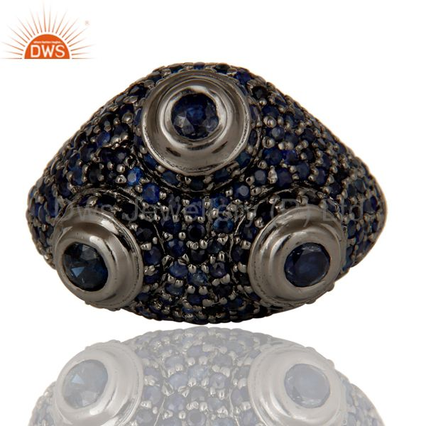Suppliers Pave Blue Sapphire Birthstone Victorian Estate Style Sterling Silver Ring