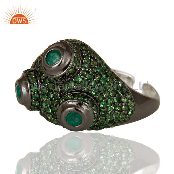 Suppliers Pave Tsavourite and Emerald Victorian Estate Style Sterling Silver Ring