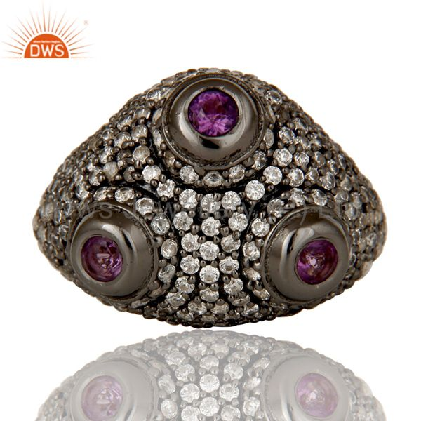 Suppliers Amethyst and White Zircon Victorian Estate Style Sterling Silver Ring