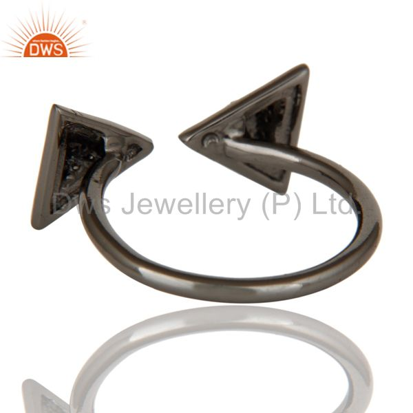 Suppliers Black Oxidized Pave Diamond Sterling Silver Pyramid Shape Ring Statement Ring