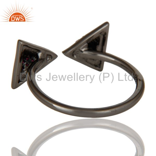 Suppliers Black Oxidized Natural Ruby Sterling Silver Pyramid Shape Ring Statement Ring