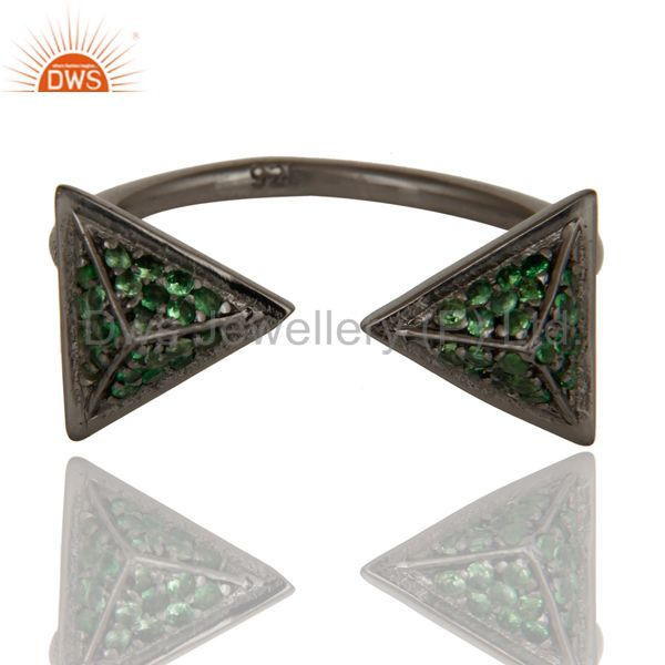 Suppliers Black Oxidized Tsavourite Sterling Silver Pyramid Shape Ring Statement Ring