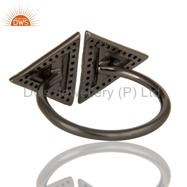 Suppliers Pave Diamond Sterling Silver Black Oxidized Pyramid Shape Ring Statement Ring