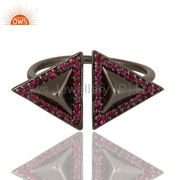 Suppliers Natural Ruby Sterling Silver Black Oxidized Pyramid Shape Ring Statement Ring