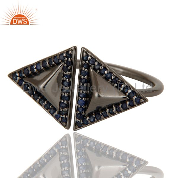 Suppliers Blue Sapphire Sterling Silver Black Oxidized Pyramid Shape Ring Statement Ring