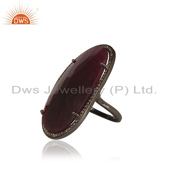 Suppliers Natural Ruby and Pave Diamond Black Oxidized Sterling Silver Ring