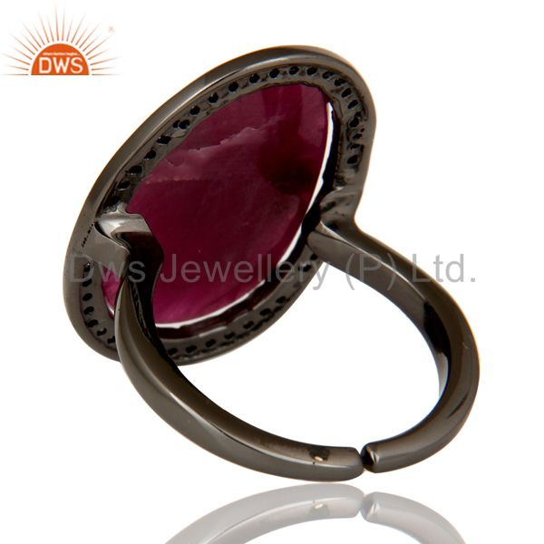 Suppliers Pave Diamond and Natural Ruby Black Oxidized Sterling Silver Adjustable Ring