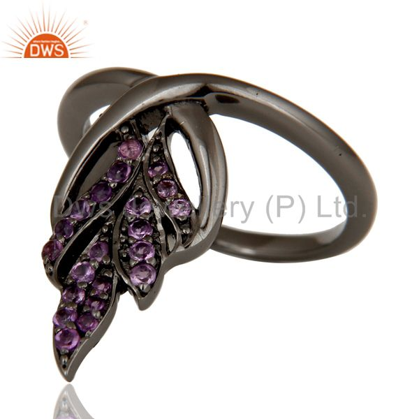 Suppliers Oxidized Sterling Silver and Amethyst Gemstone Ring Beautiful Designer Jewelry