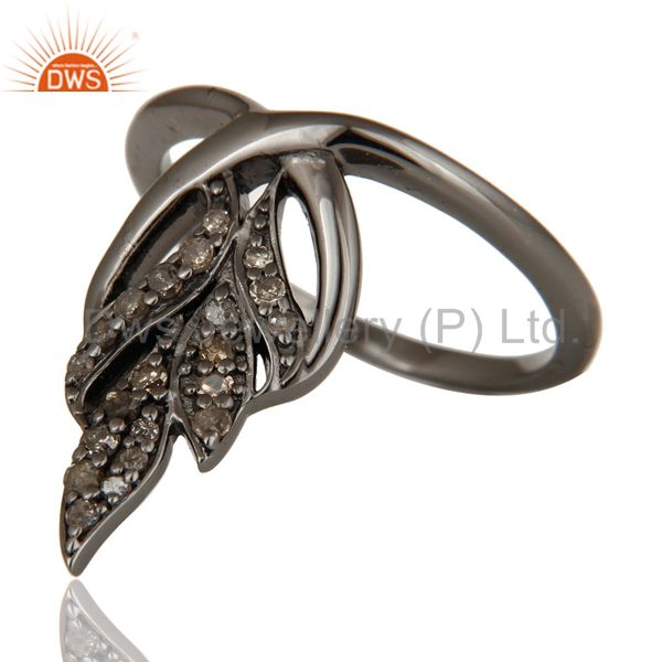 Suppliers Oxidized Sterling Silver and Diamond Ring Beautiful Designer Jewelry