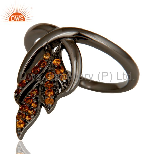 Suppliers Oxidized Sterling Silver and Spessartit Gemstone Ring Beautiful Designer Jewelry