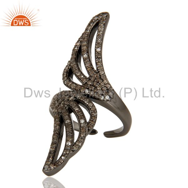 Suppliers Pave Set Diamond Oxidized Sterling Silver Midi Ring