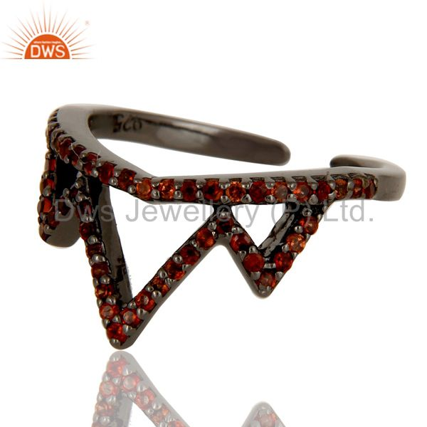 Suppliers Garnet Sterling Silver Black Oxidized Crown Design Midi Ring