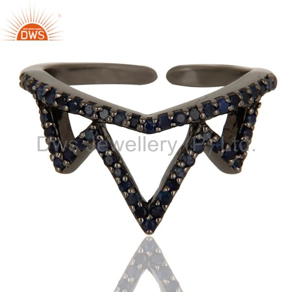 Suppliers Blue Sapphire Sterling Silver Black Oxidized Crown Design Midi Ring