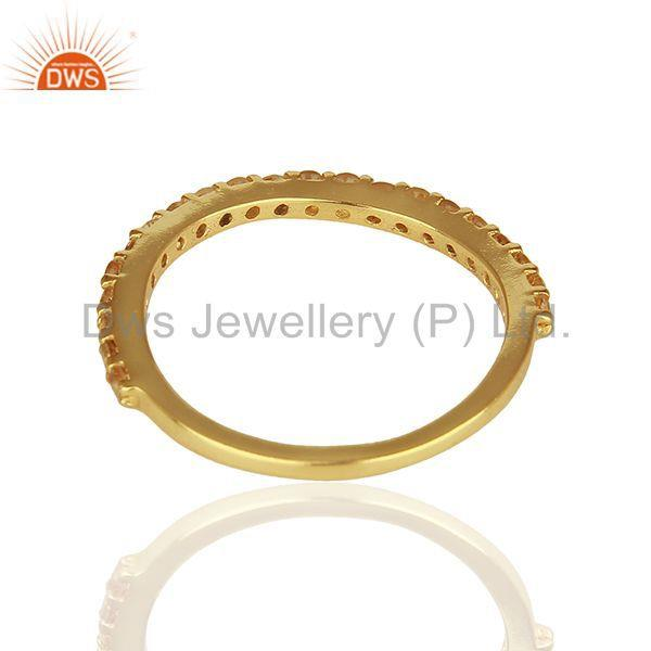 Suppliers Citrine Gemstone Gold Plated Solid Silver Stackable Band Rings