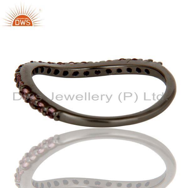 Suppliers Pink Tourmaline Black Oxidized Sterling Silver Band Ring