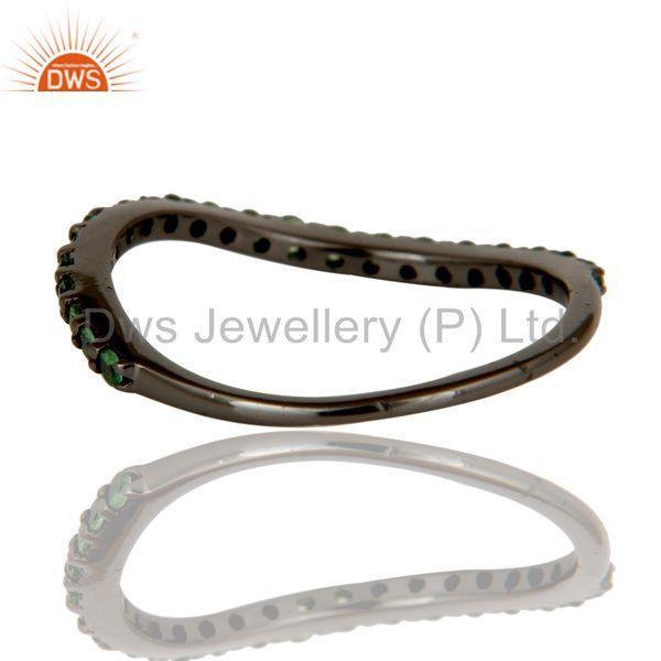 Suppliers Tsavourite Black Oxidized Sterling Silver Band Ring