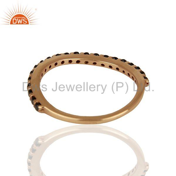 Suppliers Rose Gold Plated Sterling Silver Black Zircon Gemstone Ring Wholesale