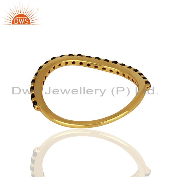 Suppliers Gold Plated Silver Black Zircon Gemstone Girls Rings Jewelry Supplier