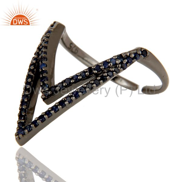 Suppliers Blue Sapphire and Sterling Silver Black Oxidized Designer Midi Ring