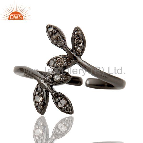 Suppliers Pave Diamond Set Black Oxidized Solid Sterling Silver Midi Ring