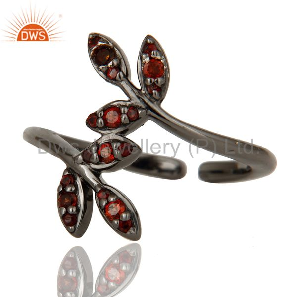 Suppliers Pave Garnet Black Oxidized Solid Sterling Silver Midi Ring