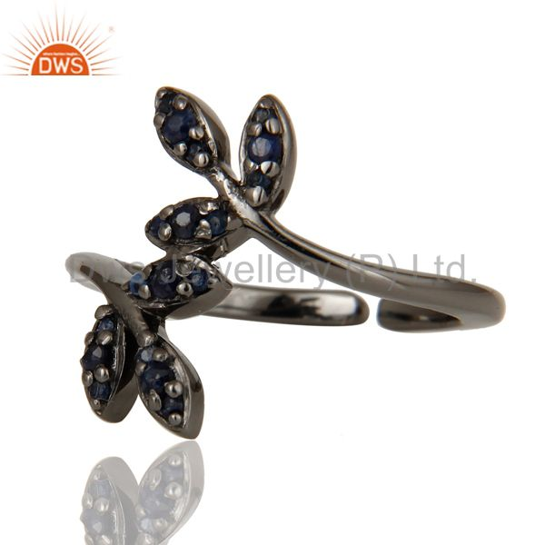 Suppliers Blue Sapphire Black Oxidized Solid Sterling Silver Midi Ring