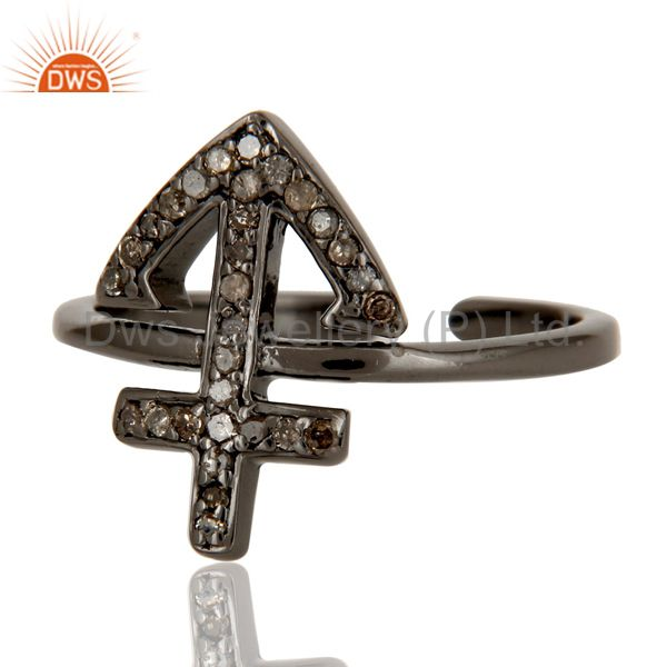 Suppliers Black Oxidized Pave Diamond Power Cross Sterling Silver Midi Ring