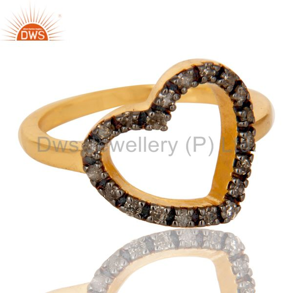 Suppliers Stunning 18K Gold Plated 925 Sterling Silver Pave Diamond Heart Design Ring