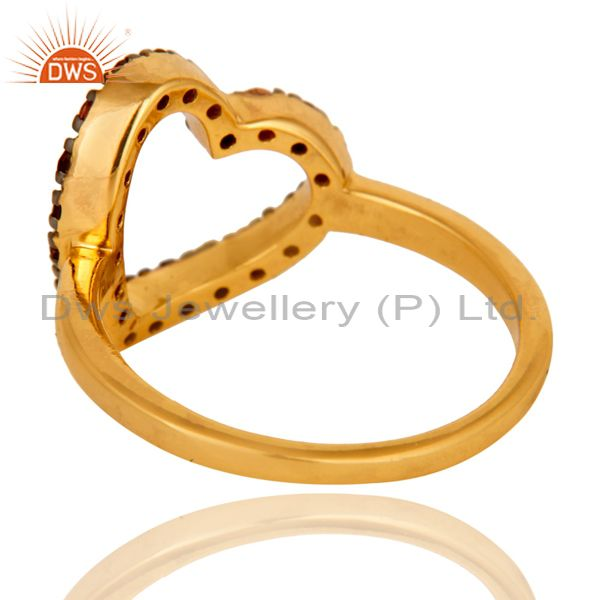 Suppliers 18K Gold Plated 925 Sterling Silver Handmade Heart Design Pink Tourmaline Ring