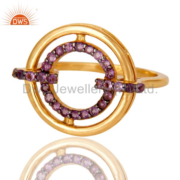 Suppliers Amethyst 18K Gold Plated Sterling Silver Stylish Gemstone Ring