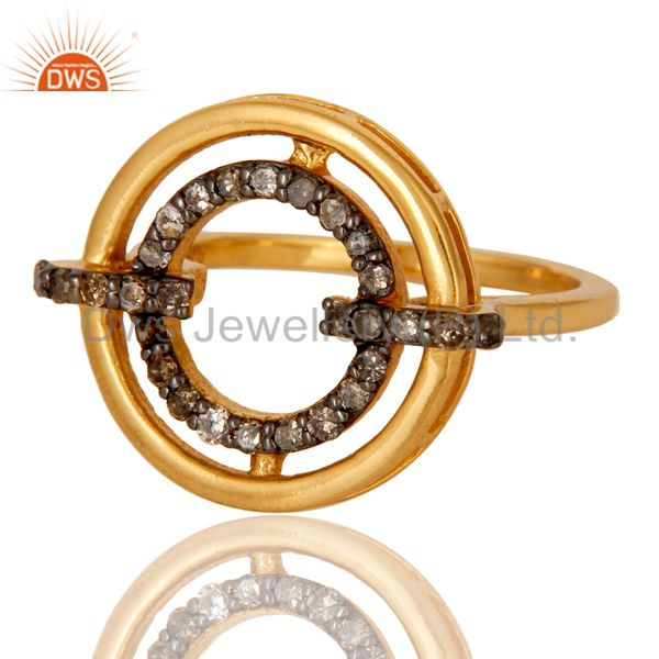 Suppliers 18K Gold Plated 925 Sterling Silver Pave Diamond Ring Party Wear Jewelry