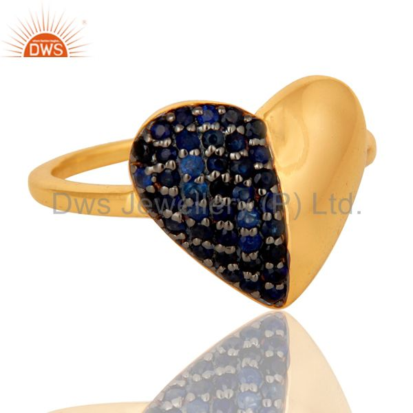 Suppliers Blue Sapphire Heart Shape 18K Gold Plated Sterling Silver Love Ring