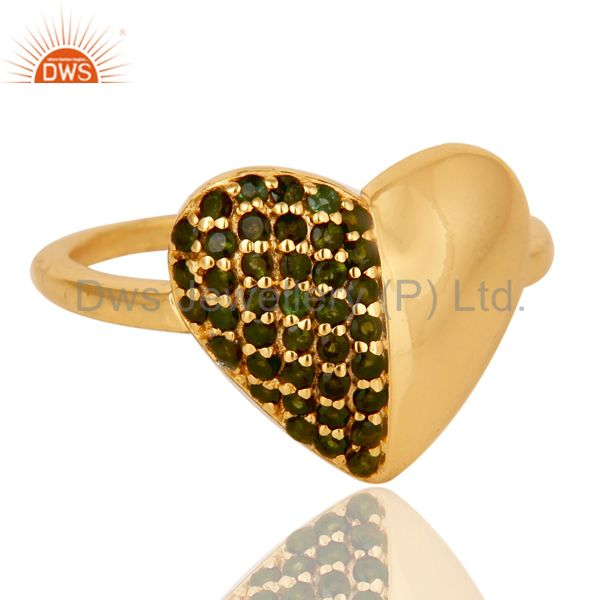 Suppliers Heart Stylish 18K Gold Plated 925 Sterling Silver Green Tourmaline Ring Jewelry