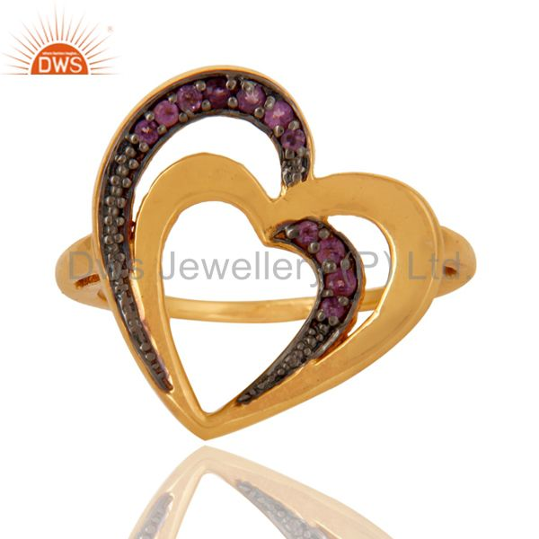 Suppliers Amethyst 18K Gold Plated Heart Shape Sterling Silver Ring Love Jewelry