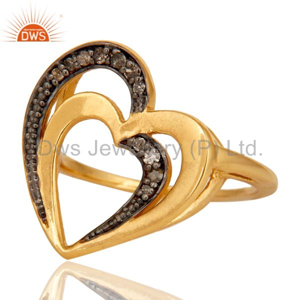 Suppliers Diamond 18K Gold Plated Heart Shape Sterling Silver Ring Love Jewelry