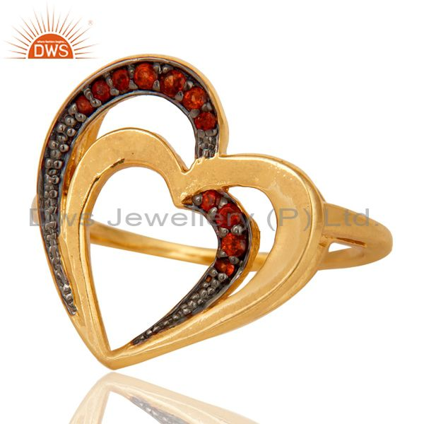 Suppliers 18K Gold Plated 925 Sterling Silver Natural Garnet Heart Design Ring Jewelry