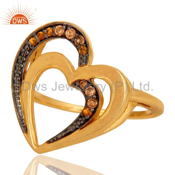 Suppliers Spessartite 18K Gold Plated Heart Shape Sterling Silver Ring Love Jewelry
