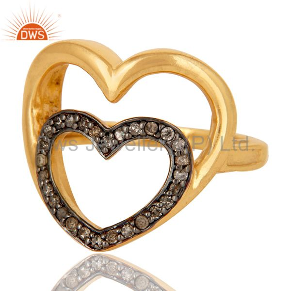 Suppliers Heart Design 18K Gold Plated 925 Sterling Silver Pave Diamond Ring Jewelry