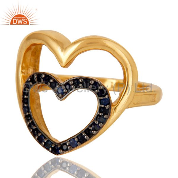Suppliers 18K Gold Plated Sterling Silver Blue Sapphire Heart Shape Ring Love Sign Ring