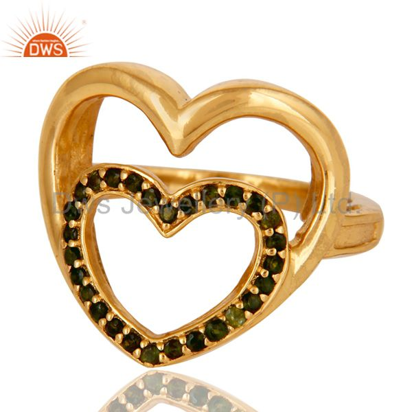Suppliers 18K Gold Plated Sterling Silver Green Tourmaline Heart Shape Ring Love Sign Ring