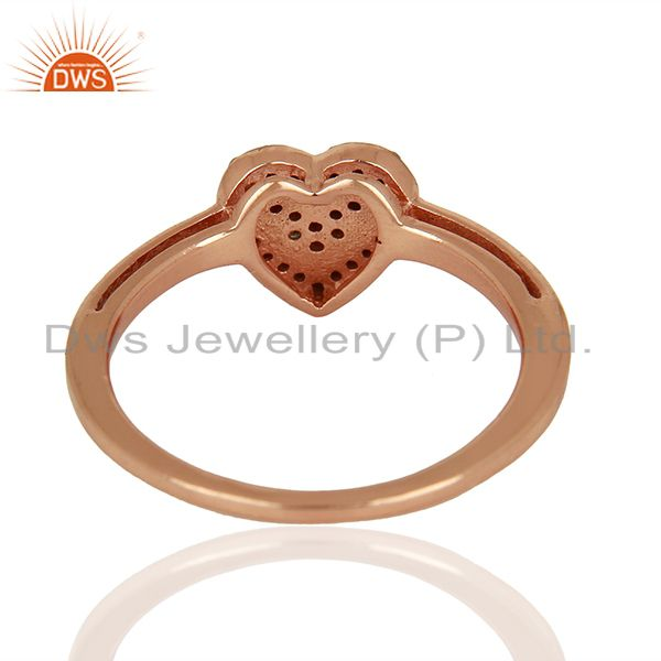 Suppliers Heart Shape Rose Gold Plated Pave Diamond Ring Supplier Jewelry