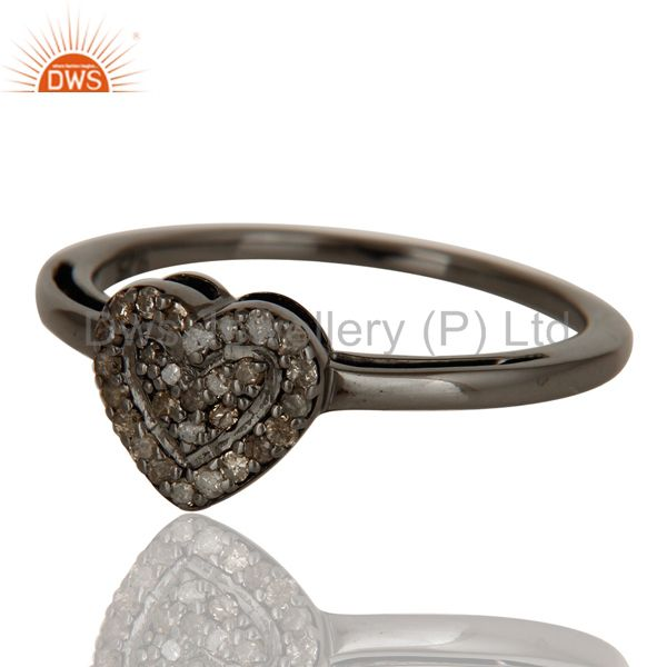 Suppliers Diamond Heart Shape Love Ring Black Oxidized Sterling Silver Ring