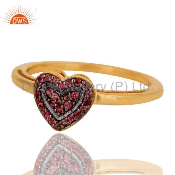 Suppliers 18K Gold Plated 925 Sterling Silver Pink Tourmaline Ring Heart Design Jewelry
