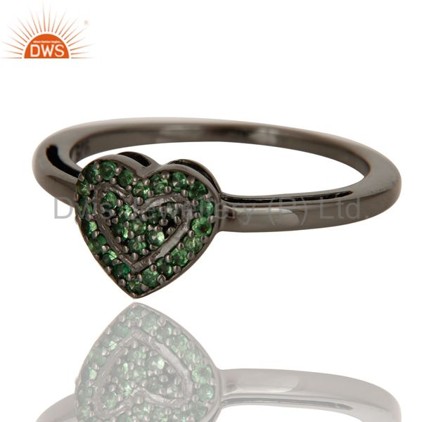 Suppliers Tsavourite Heart Shape Love Ring Black Oxidized Sterling Silver Ring