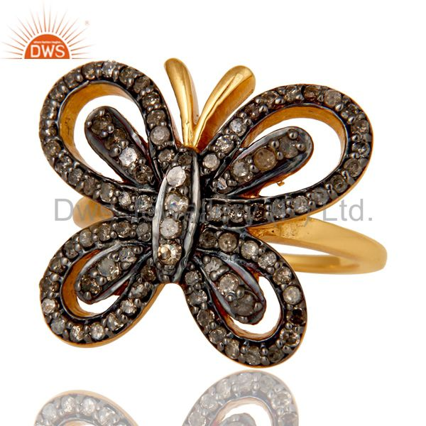 Suppliers 18K Gold Plated Sterling Silver Diamond Butterfly Designer Ring