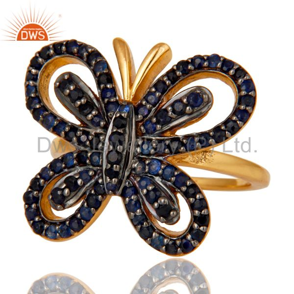 Suppliers 18K Gold Plated Sterling Silver Blue Sapphire Butterfly Designer Ring