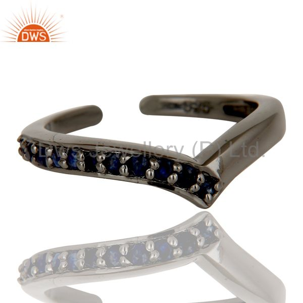 Suppliers Black Oxidized 925 Sterling Silver Handmade Blue Sapphire Midi Ring Jewelry