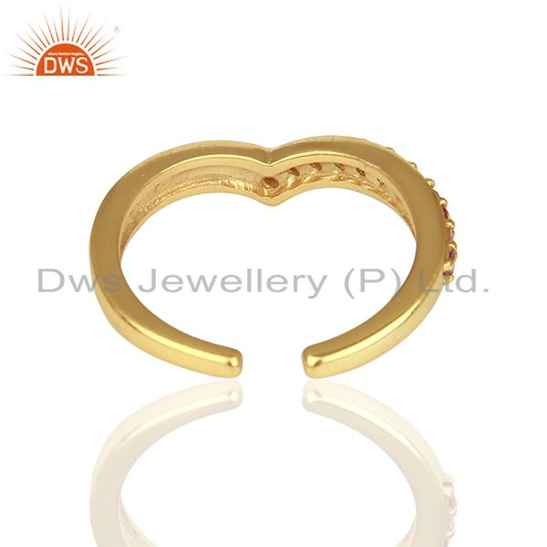 Suppliers Pink Tourmaline Gemstone Gold Plated Silver Midi Ring Jewelry