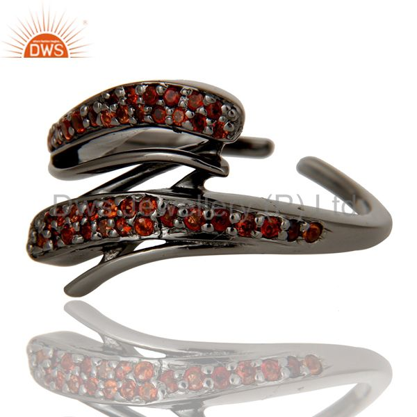 Suppliers Black Oxidized 925 Sterling Silver Natural Garnet Midi Ring Gift Jewelry