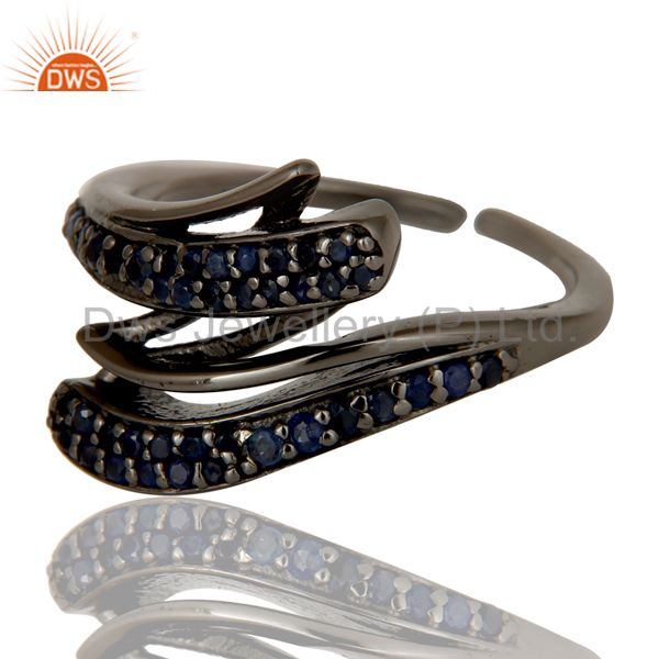 Suppliers Black Oxidized Sterling Silver and Blue Sapphire Designer Midi Ring